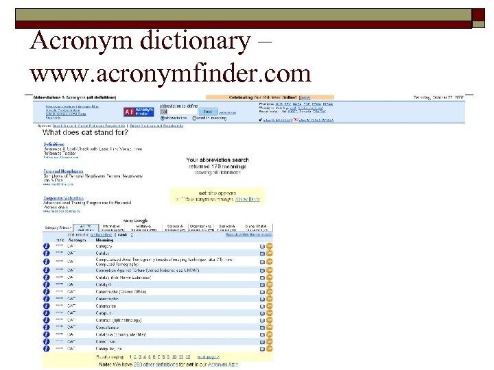 Acronym dictionary – www. acronymfinder. com