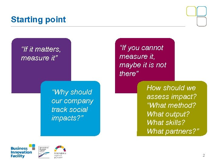 "Starting point ""If it matters, measure it"" ""Why should our company track social impacts?"
