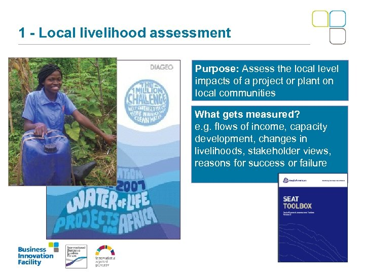 1 - Local livelihood assessment Purpose: Assess the local level impacts of a project