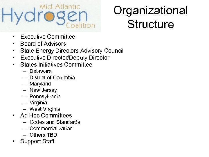 Organizational Structure • • • Executive Committee Board of Advisors State Energy Directors Advisory