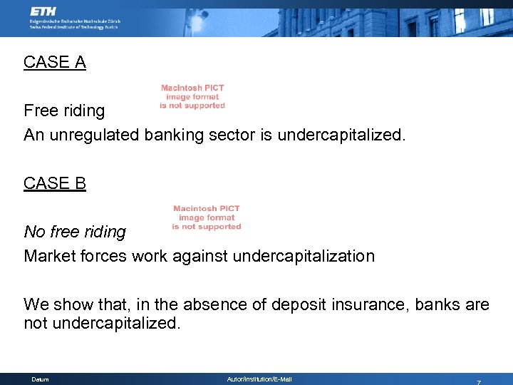 CASE A Free riding An unregulated banking sector is undercapitalized. CASE B No free