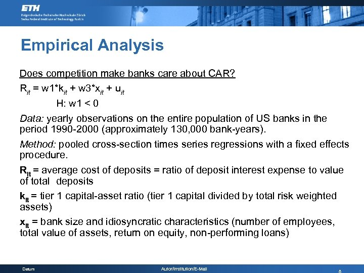 Empirical Analysis Does competition make banks care about CAR? Rit = w 1*kit +