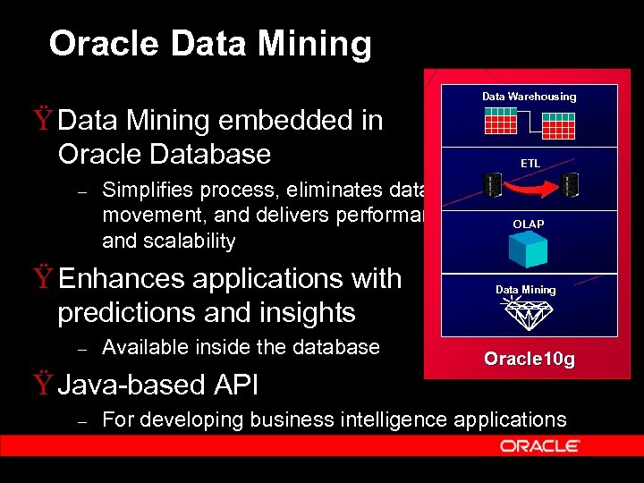 Oracle Data Mining Data Warehousing Ÿ Data Mining embedded in Oracle Database – Simplifies