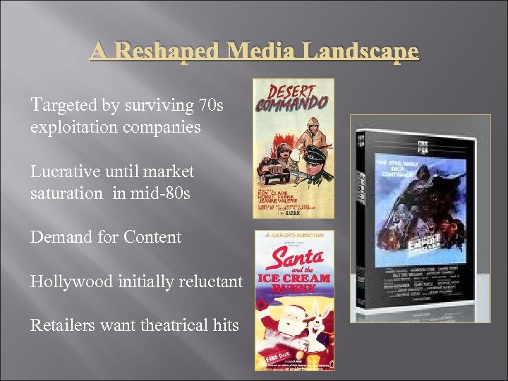A Reshaped Media Landscape Targeted by surviving 70 s exploitation companies Lucrative until market