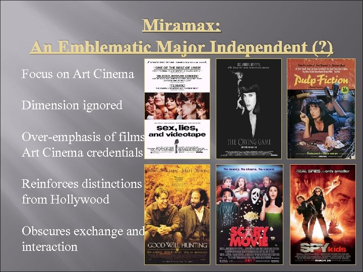 Miramax: An Emblematic Major Independent (? ) Focus on Art Cinema Dimension ignored Over-emphasis