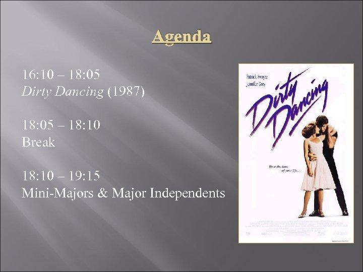 Agenda 16: 10 – 18: 05 Dirty Dancing (1987) 18: 05 – 18: 10
