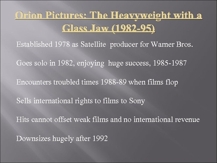 Orion Pictures: The Heavyweight with a Glass Jaw (1982 -95) Established 1978 as Satellite
