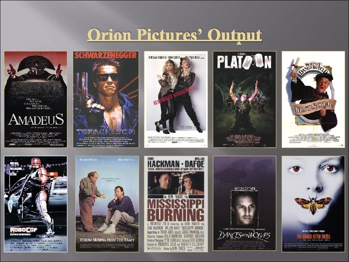Orion Pictures' Output