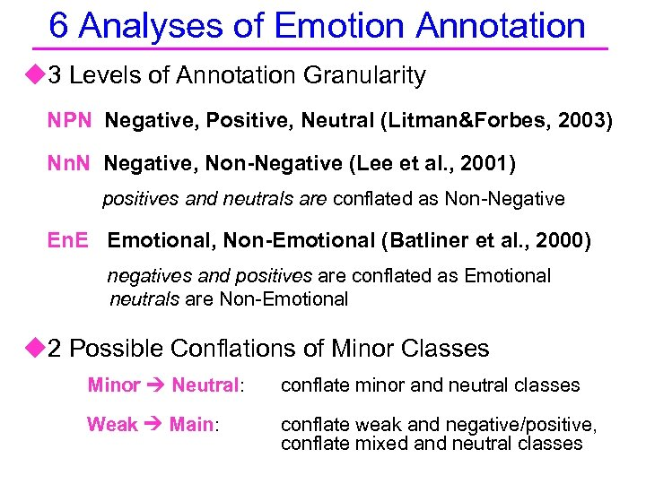 6 Analyses of Emotion Annotation u 3 Levels of Annotation Granularity NPN Negative, Positive,