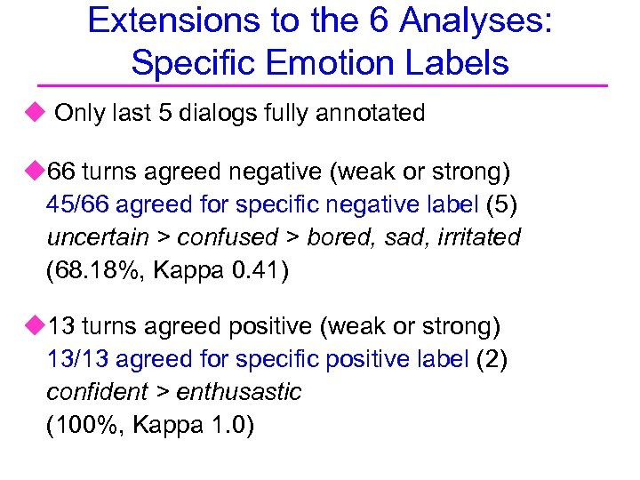 Extensions to the 6 Analyses: Specific Emotion Labels u Only last 5 dialogs fully