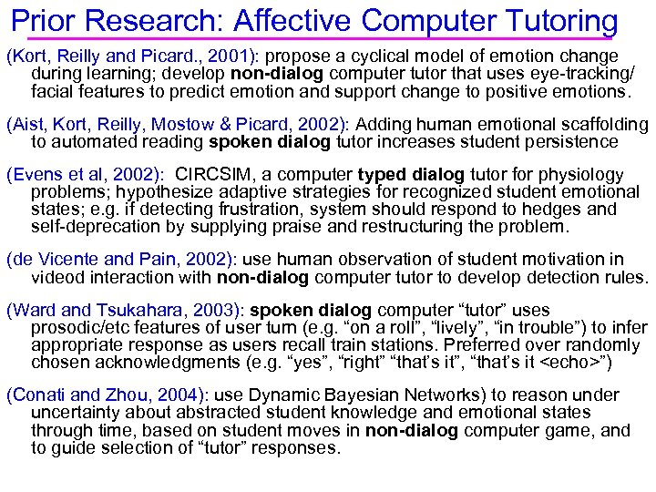 Prior Research: Affective Computer Tutoring (Kort, Reilly and Picard. , 2001): propose a cyclical