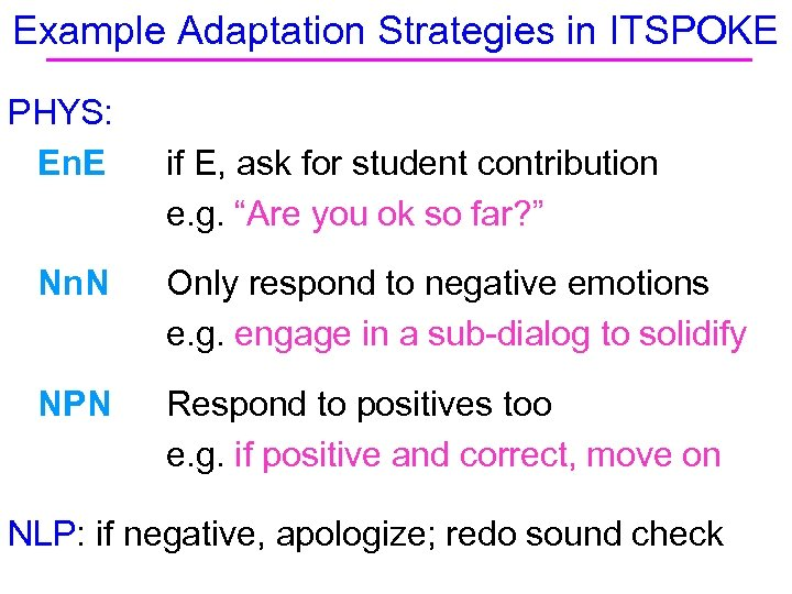 Example Adaptation Strategies in ITSPOKE PHYS: En. E if E, ask for student contribution
