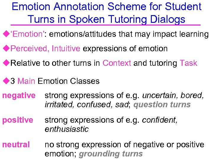 Emotion Annotation Scheme for Student Turns in Spoken Tutoring Dialogs u'Emotion': emotions/attitudes that may