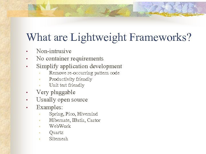 What are Lightweight Frameworks? • • • Non-intrusive No container requirements Simplify application development