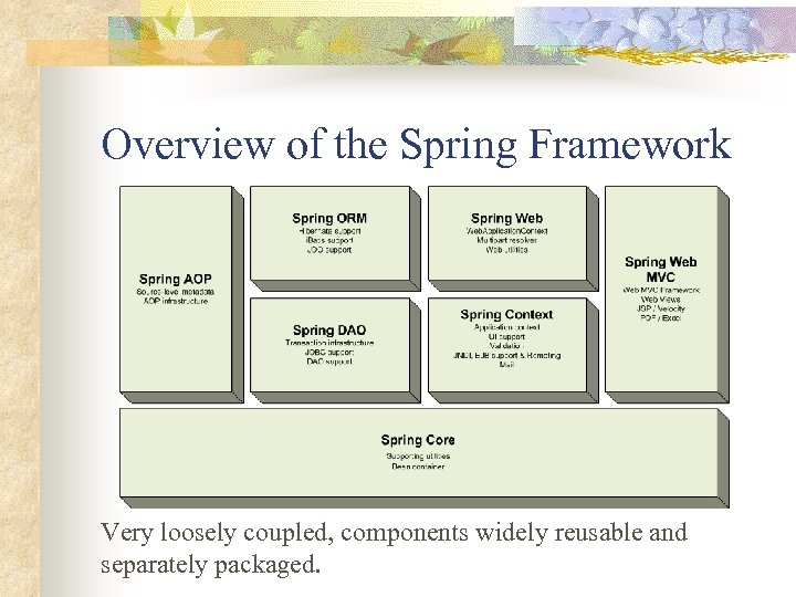 Overview of the Spring Framework Very loosely coupled, components widely reusable and separately packaged.