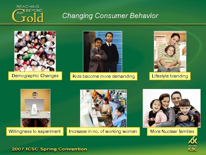 Changing Consumer Behavior Demographic Changes Kids become more demanding Willingness to experiment Increase in