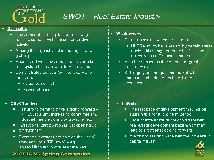 SWOT – Real Estate Industry § Strengths § Development primarily based on strong realistic
