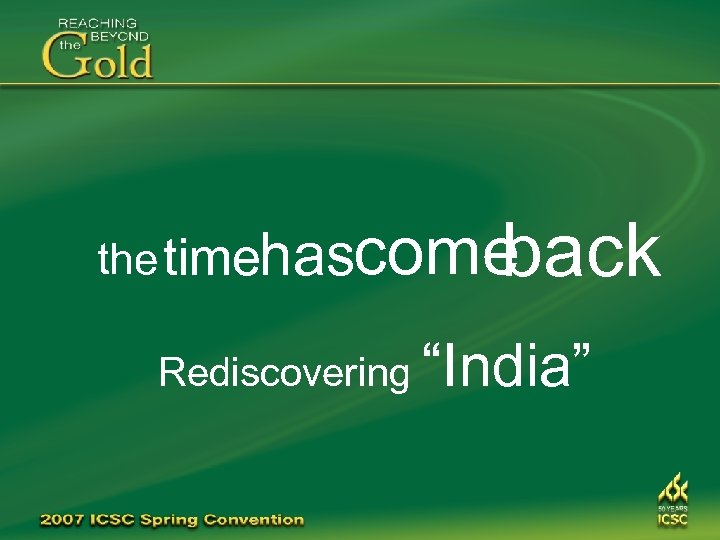 "back the timehascome Rediscovering ""India"""