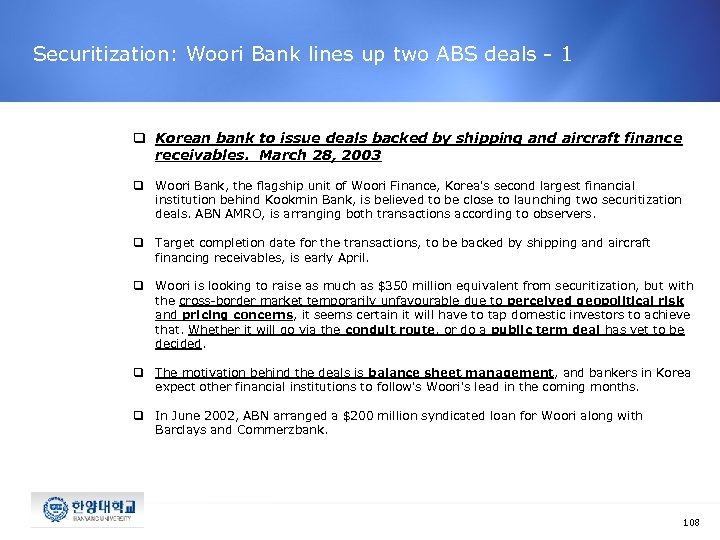 Securitization: Woori Bank lines up two ABS deals - 1 q Korean bank to