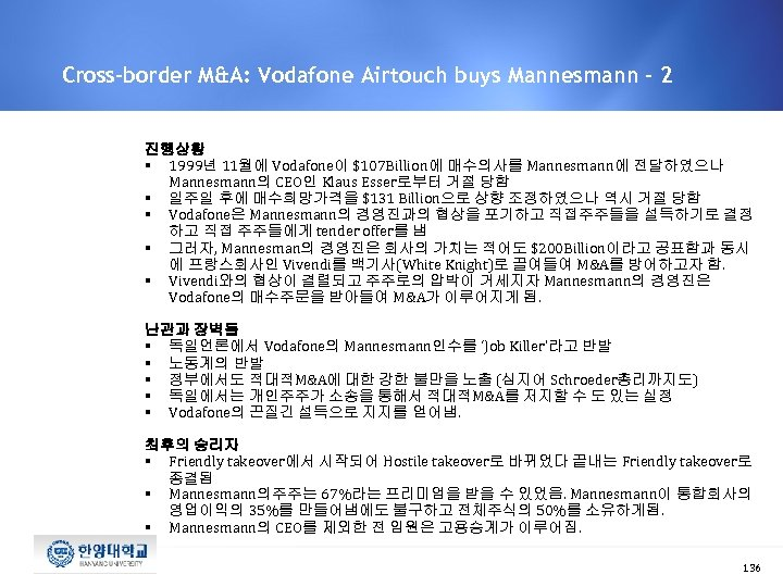 Cross-border M&A: Vodafone Airtouch buys Mannesmann - 2 진행상황 § 1999년 11월에 Vodafone이 $107