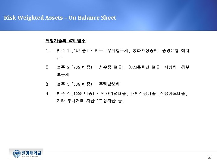 Risk Weighted Assets – On Balance Sheet 위헙가중의 4개 범주 1 (0%비중) – 현금,