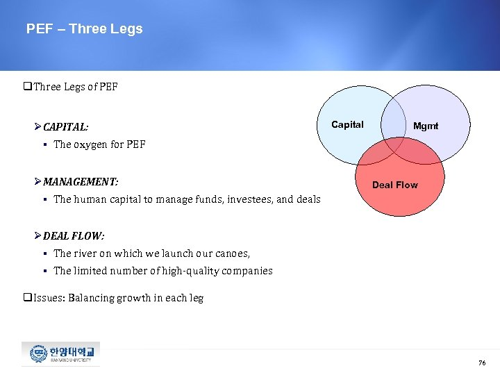 PEF – Three Legs q. Three Legs of PEF Ø CAPITAL: § Mgmt The