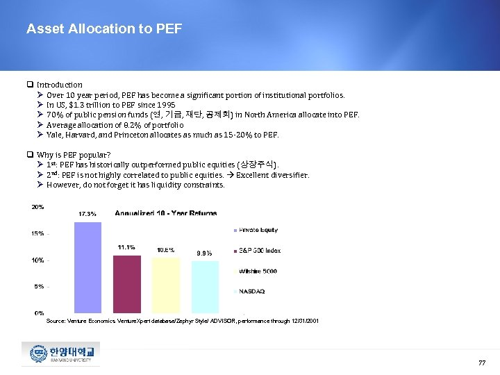 Asset Allocation to PEF q Introduction Ø Over 10 year period, PEF has become