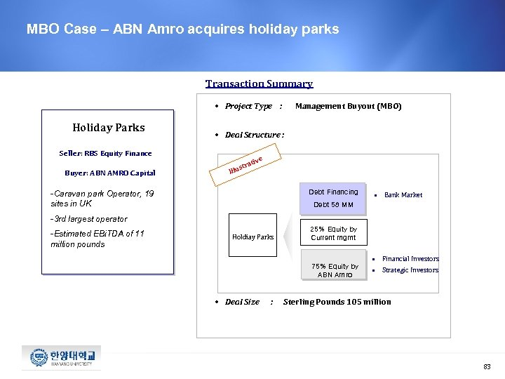MBO Case – ABN Amro acquires holiday parks Transaction Summary • Project Type :