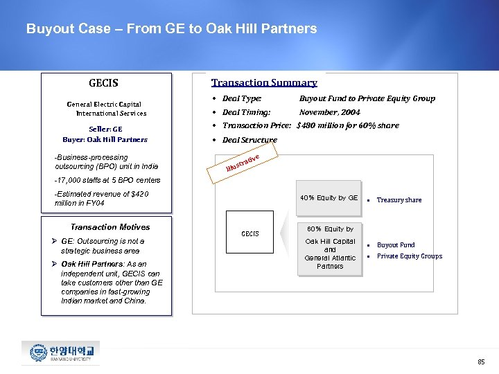 Buyout Case – From GE to Oak Hill Partners GECIS General Electric Capital International