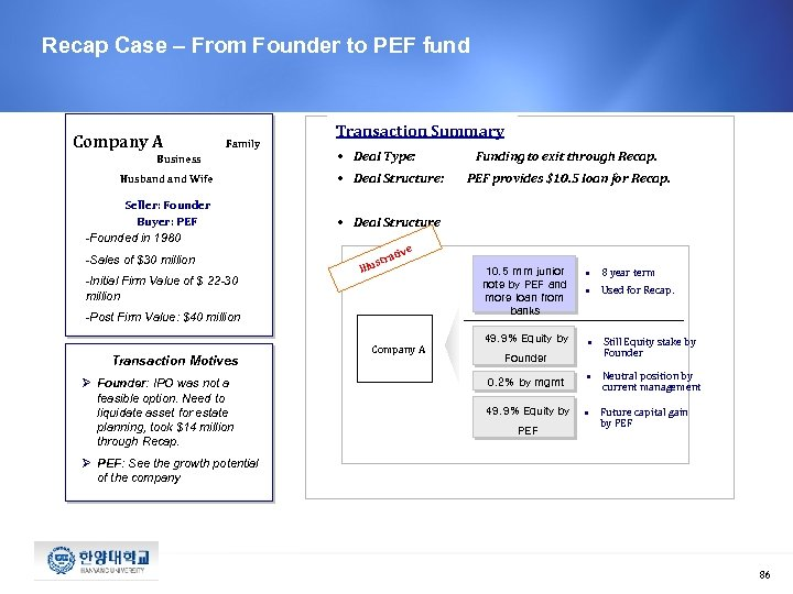 Recap Case – From Founder to PEF fund Company A Family Business Husband Wife