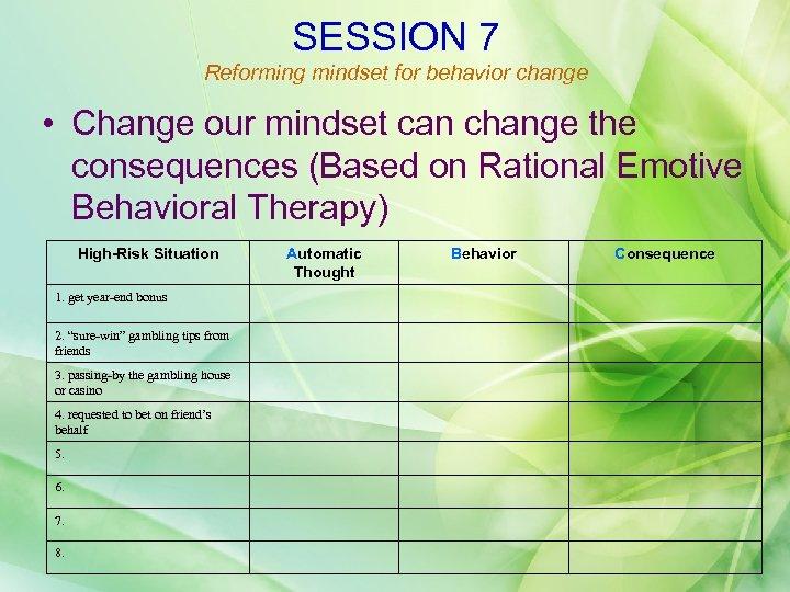 SESSION 7 Reforming mindset for behavior change • Change our mindset can change the