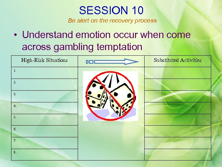 SESSION 10 Be alert on the recovery process • Understand emotion occur when come
