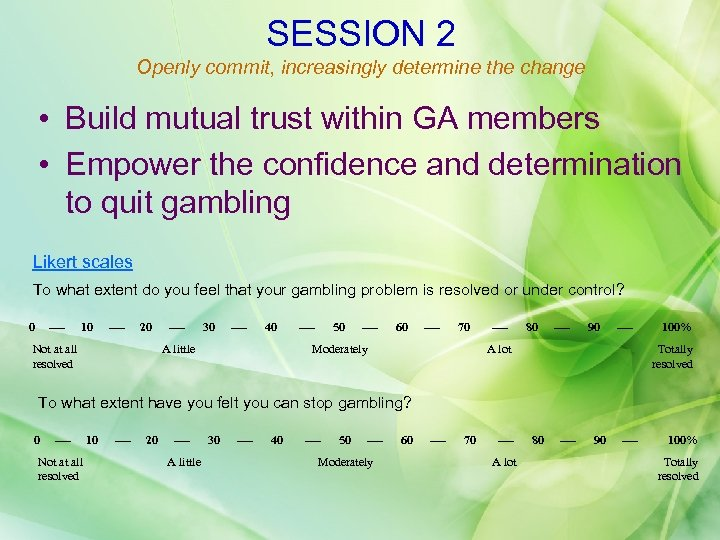 SESSION 2 Openly commit, increasingly determine the change • Build mutual trust within GA
