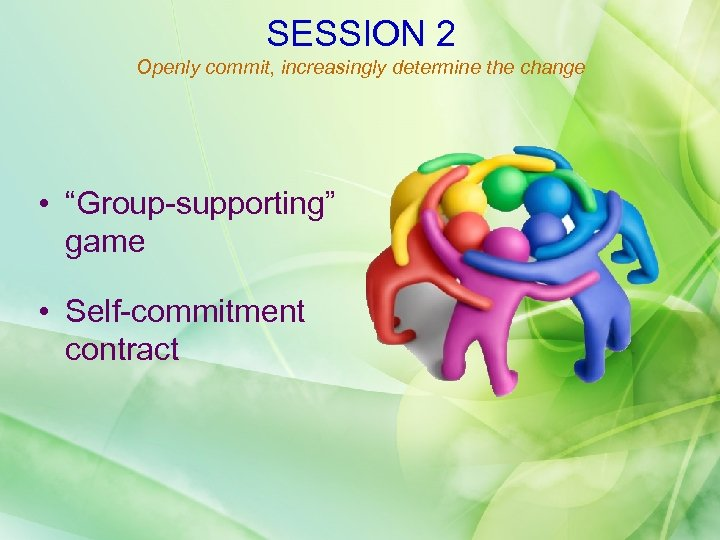 "SESSION 2 Openly commit, increasingly determine the change • ""Group-supporting"" game • Self-commitment contract"