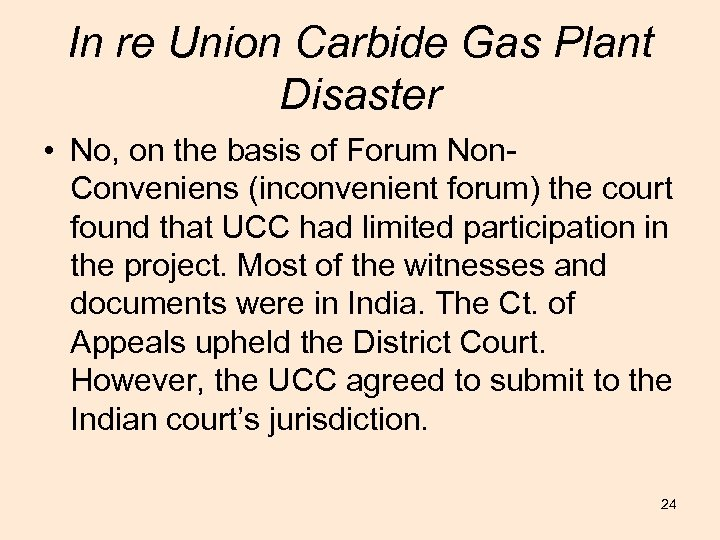 In re Union Carbide Gas Plant Disaster • No, on the basis of Forum