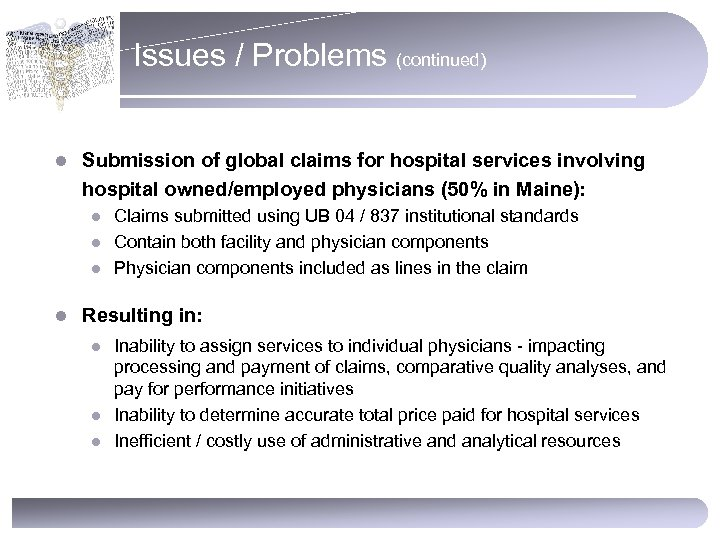 Issues / Problems (continued) l Submission of global claims for hospital services involving hospital