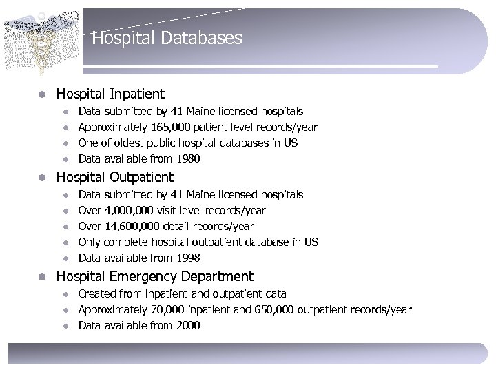 Hospital Databases l Hospital Inpatient l l l Hospital Outpatient l l l Data