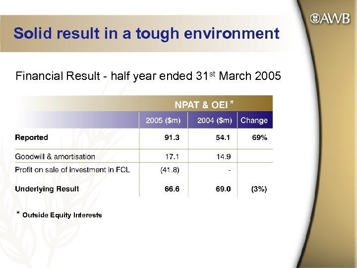Solid result in a tough environment Financial Result - half year ended 31 st