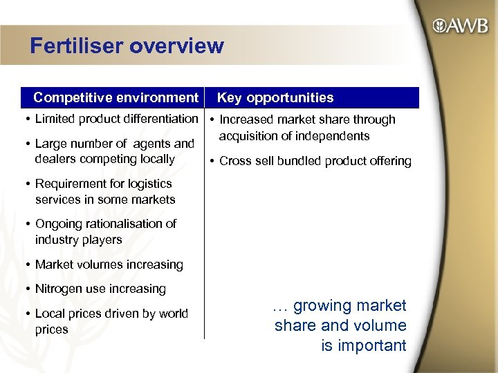 Fertiliser overview Competitive environment Key opportunities • Limited product differentiation • Increased market share