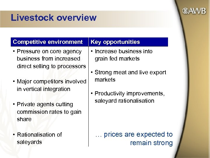 Livestock overview Competitive environment Key opportunities • Pressure on core agency • Increase business