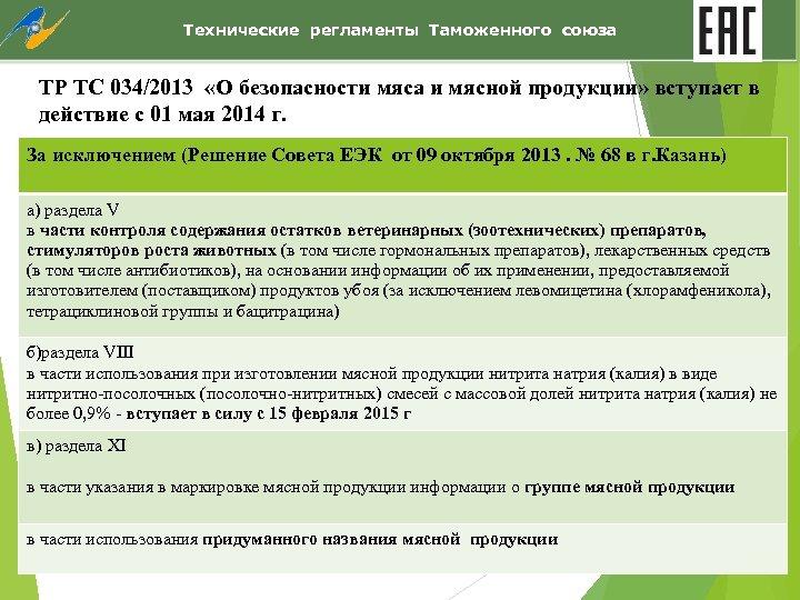 Технические регламенты Таможенного союза ТР ТС 034/2013 «О безопасности мяса и мясной продукции» вступает