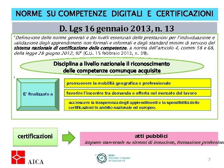 """NORME SU COMPETENZE DIGITALI E CERTIFICAZIONI D. Lgs 16 gennaio 2013, n. 13 """"Definizione"""
