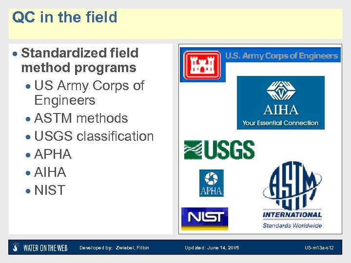QC in the field · Standardized field method programs · US Army Corps of