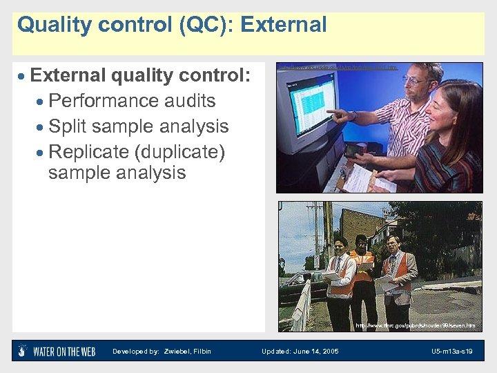 Quality control (QC): External · External quality control: · Performance audits · Split sample