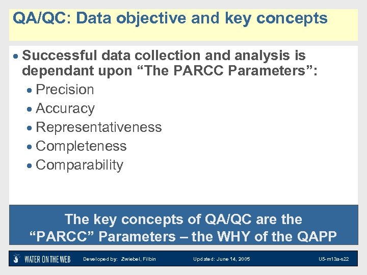 QA/QC: Data objective and key concepts · Successful data collection and analysis is dependant