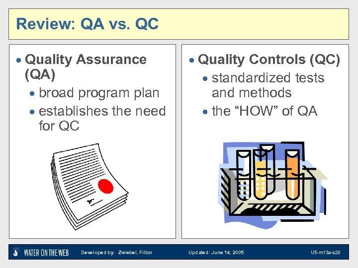 Review: QA vs. QC · Quality Assurance (QA) · broad program plan · establishes