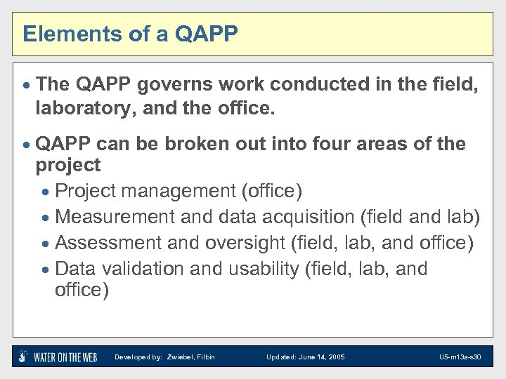 Elements of a QAPP · The QAPP governs work conducted in the field, laboratory,