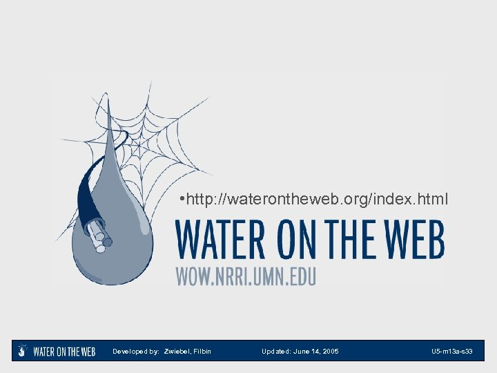 • http: //waterontheweb. org/index. html Developed by: Zwiebel, Filbin Updated: June 14, 2005