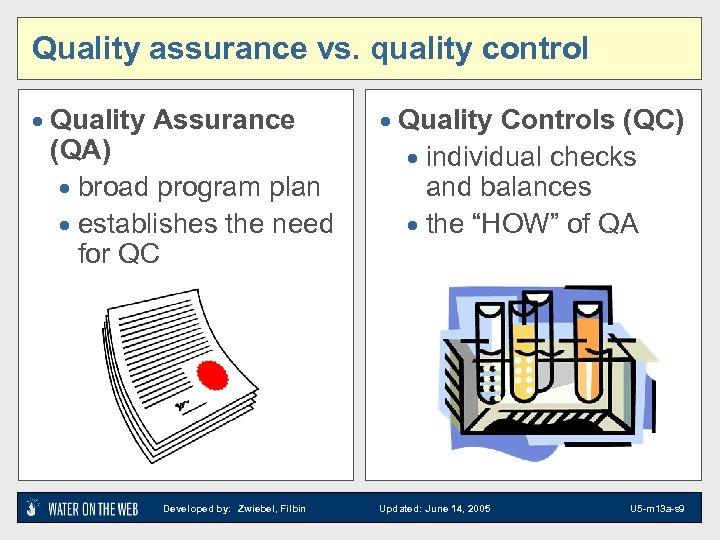 Quality assurance vs. quality control · Quality Assurance (QA) · broad program plan ·