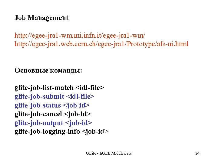 Job Management http: //egee-jra 1 -wm. mi. infn. it/egee-jra 1 -wm/ http: //egee-jra 1.